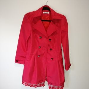 Jackets & Blazers - Japanese Pink Lace Trench Coat